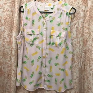 Soho Jeans by New York & Company pineapple blouse